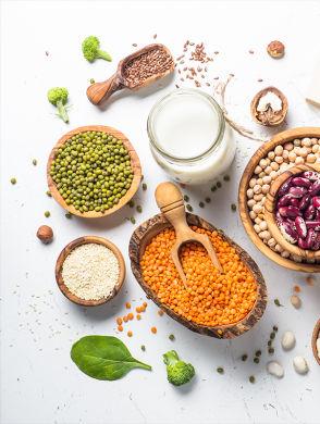 Pflanzliches Protein - Foto van verschillende plantaardige eiwitbronnen: Linzen, erwten, noten, broccoli, tofu, diverse zaden, diverse andere peulvruchten
